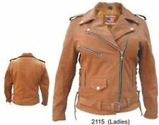 A2115 Ladies Brown Motorcycle Jacket with zip-out liner & side laces