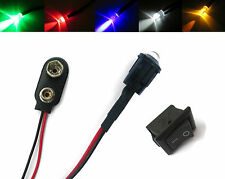 All Flashing LED Colours Multi-Purpose 12V 5mm Switch + PP3 Connector + Mount