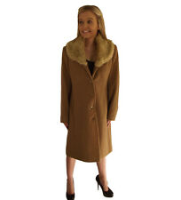 Campbell Cooper Smart Ladies Long Brown Tan buttoned Coat faux fur Collar