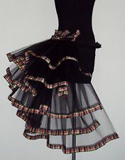 TARTAN Burlesque Tutu Skirt Bustle Black Belt Sexy Goth Steam punk