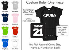 Spurs Baby One Piece - Custom Name and Number, Creeper, Onesie