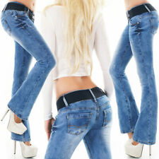 Womens NEW Bootcut Jeans Blue Washed Designer Sexy Low Rise Hipster Sizes 6 - 14