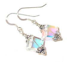 8mm CLEAR AB Cube Crystal Earrings Sterling Silver Dangle Swarovski Elements