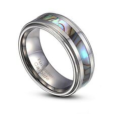 Tungsten Carbide 8mm Abalone Striped Inlay Comfort Fit Ring US Size 9-14 TG004