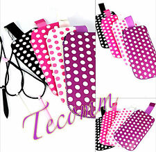 LEATHER PULL TAB POLKA DOTS POUCH SLEEVE CASE COVER FOR Samsung Glaxy Ace S5830