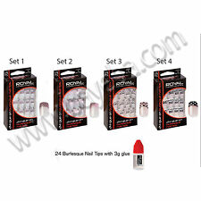 Royal 24 Glue On Burlesque Style Nail Tips Nails Set Kit Includes 3g Nail Glue