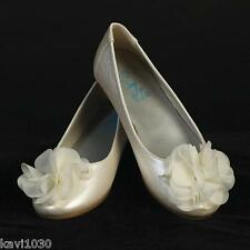 New Youth Girls IVORY Dress Shoes Flats Flower & Rhinestone Communion Size 9-4