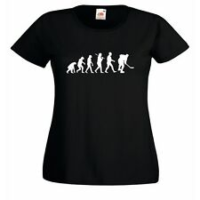 Evolution of Ice Hockey Ladies Fitted Black T-Shirt Gretzky Stanley Rink Puk
