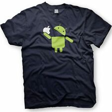 Droid Eating Apple. Android Operating System Tshirt. Multiple Colors.