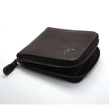 New Mens Wallet KOREA -102 Vintage Leather Bifold Holder Zip Coin Around Purse
