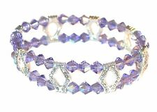 TANZANITE PURPLE Crystal Bracelet 2-Strand Silver Stretch Swarovski Elements