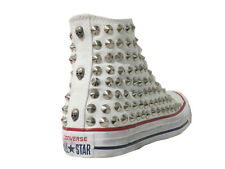 Converse all star Hi borchie teschi  scarpe donna uomo bianco, optical white