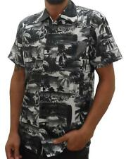 Hawaiian Mens New  Beach Palm tree Fitted 100% cotton Collared Shirt retro Indie