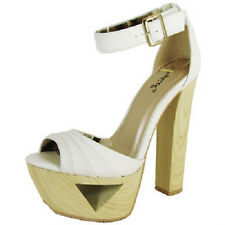 Qupid Women's Lakie White High Heel Platform with buckle and Edgy Heel