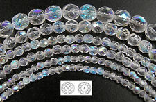 """Czech Fire Polished Round Faceted Beads in Crystal AB, 16"""" strand"""