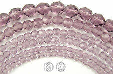 "Czech Fire Polished Round Faceted Beads in Light Amethyst, 16"" strand"