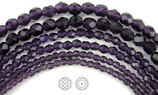 "Czech Fire Polished Round Faceted Beads in Tanzanite color, 16"" strand"