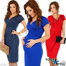 Women's Maternity Elegant Office Short Sleeve Stretch Dress Tunic V neck 5900