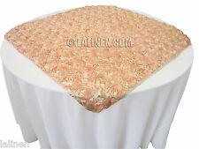 "46/48"" Square Satin Petal Rosette Overlay Wedding Cake table. Made in USA."