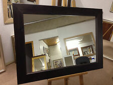 """4"""" CHUNKY DARK BROWN/WENGE STAINED SOLID PINE WALL AND OVERMANTLE MIRRORS - VARI"""