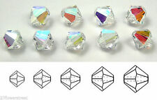Czech Bicone Beads (Rondell / Diamond shape) Crystal AB color, Superior Quality