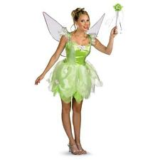 Tinker Bell Fairy Pixie Green Dress Up Halloween DLX Teen Adult Costume w/Wings
