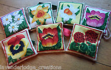Lavender Filled Sachets Bags. Flower Designs, Aromatic Decoration Gifts Presents