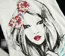 NWT Women's 0096 Long Haired Girl Red Flower Bow Casual T-shirt White Sz S-L