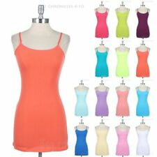 Plain Cotton Tunic Camisole Tank Top Adjustable Spaghetti Strap Solid Easy Wear