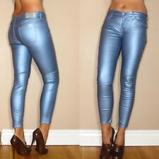 $198 Seven 7 For All Mankind Skinny Blue Metallic Leather-Look Jeans 26 28