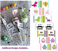 90 SUCKER LABELS Birthday Party Wrapper Decoration Candy Fun Favor Goodie Bag