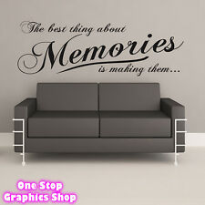 THE BEST THING ABOUT MEMORIES WALL ART QUOTE STICKER 2 -  BEDROOM LOUNGE LOVE