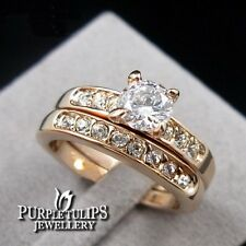 18K Rose Gold Plated Made With SWAROVSKI Crystals Wedding/Anniversary Ring Set