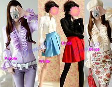 New Fashion Women Lady Elegant Victorian Style Ruffle Flounce Tops Blouse Shirt