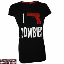 DARKSIDE CLOTHING I SHOOT ZOMBIES WOMENS T-SHIRT HORROR EVIL NEW ALL SIZES DEAD
