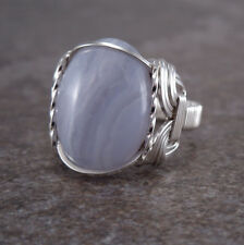 Sterling Silver Blue Lace Agate Cabochon Wire Wrapped Ring