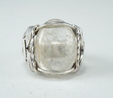 Sterling Silver Golden Rutilated Quartz Cabochon Wire Wrapped Ring
