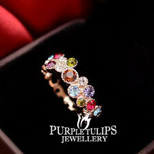 18K Rose Gold Plated Rainbow Cocktail Ring Genuine Made With SWAROVSKI Crystals