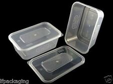 FOOD CONTAINERS & LIDS~Microwave Safe~500ml Small~Clear Plastic~Takeaway