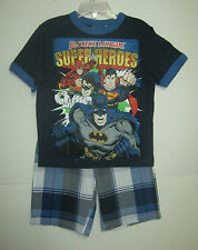 NEW W/T JUSTICE LEAGUE BOYS 2 PC SHORT OUTFIT  4, 5, 7
