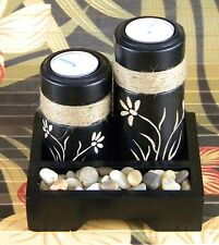 Zen Tea-Light Wooden Candle Sets ( Available in 3 Styles, Black or Brown)