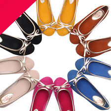 leather slip on ladies bow flat ballet ballerina ladiess shoes JG [JG]