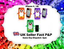 Cute 3D ORANGE PURPLE GREEN Penguin Soft Silicone Case Cover Fits iPhone 4 / 4S