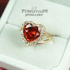 18CT Rose Gold Plated Ballerina Ruby Heart Ring W/ Genuine SWAROVSKI Crystals