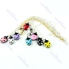 Cute Ladybug Shaped Necklace Chain Pocket Quartz Pendant Watch Clock Kids Gift
