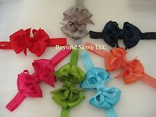 Infant Baby Girls Easter Small Boutique Style Hair Bow Elastic Stretch Headband