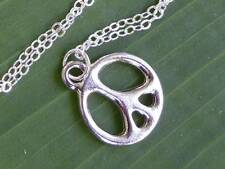Silver peace sign necklace - platinum plated charm on sterling silver chain