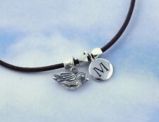 Tiny bird & initial charm bracelet or anklet -sterling silver,  brown leather