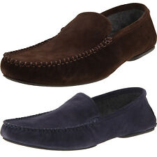Hugo Boss Mens Remor Brown or Blue Suede Slip-On Loafers Slippers House Shoes