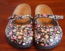 Birki's Birkenstock Maria Soft Bed Black Floral 4 6 Mary Janes Adjustable Shoes